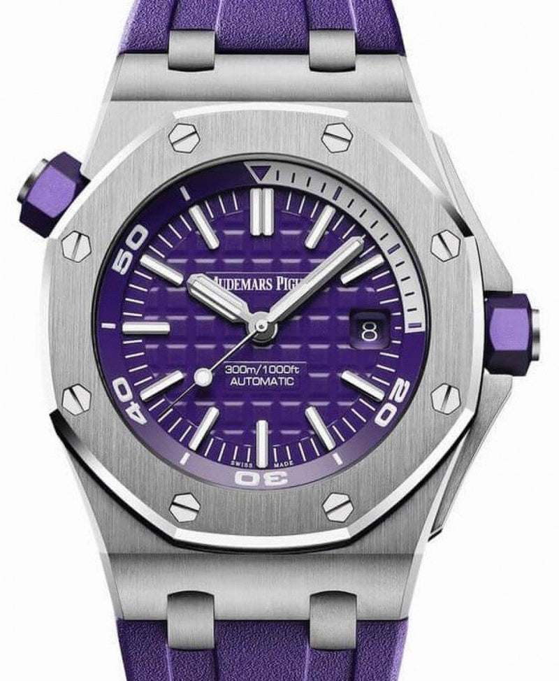Men's Audemars Piguet Royal Oak Offshore Diver 15710ST.OO.A077CA.01 Purple Index Stainless Steel Rubber 42mm BRAND NEW