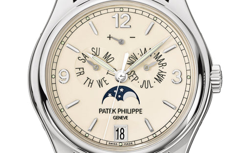 Men's Patek Philippe 5146G-001 Complications Annual Calendar Moon Phase Date 39mm Cream Arabic Index White Gold Automatic BRAND NEW - Global Timez
