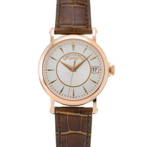 Men's Patek Philippe 5153R-001 Calatrava 38mm Silver Opaline Index Rose Gold Leather BRAND NEW - Global Timez