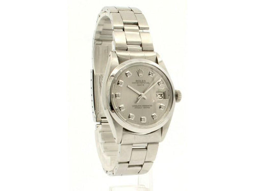 Men's ROLEX Oyster Perpetual Date 34mm Silver Dial Diamond Stainless Watch PRE-OWNED - Global Timez