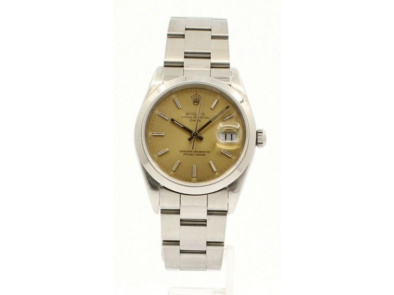 Men's Vintage ROLEX Oyster Perpetual Date 34mm TROPICAL Dial Circa 1992 15200 PRE-OWNED