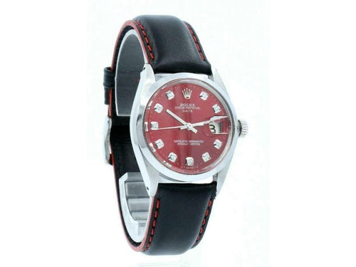 Men's Vintage ROLEX Oyster Perpetual Date 34mm Red Dial Diamond Stainless Watch PRE-OWNED - Global Timez