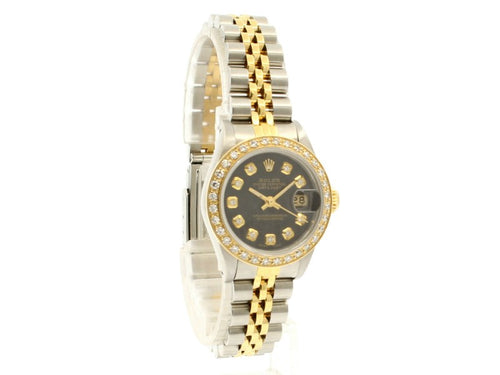 Ladies ROLEX Oyster Perpetual 18k & Steel Datejust 26mm BLACK Dial Diamond Watch PRE-OWNED