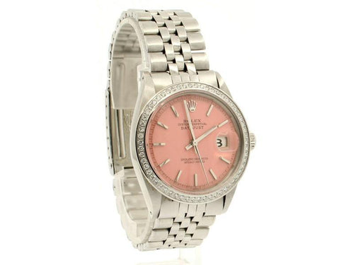 Men's Vintage ROLEX Oyster Perpetual Datejust 36mm PINK Dial Diamond Bezel Watch PRE-OWNED - Global Timez