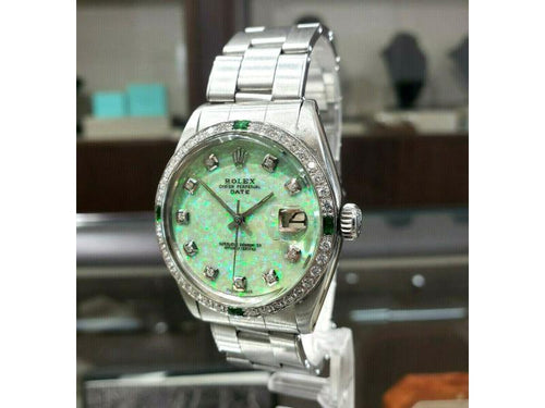 Men's Vintage ROLEX Oyster Perpetual Date 34mm GREEN OPAL Dial Diamond Stainless PRE-OWNED - Global Timez