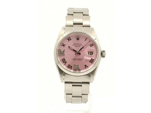 Men's Vintage ROLEX Oyster Perpetual Date 34mm PINK Roman Dial Stainless Watch PRE-OWNED - Global Timez