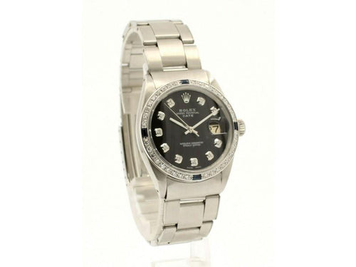 Men's Vintage ROLEX Oyster Perpetual Date 34mm Black Dial Diamond Stainless Watch PRE-OWNED - Global Timez