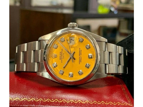Men's Vintage ROLEX Oyster Perpetual Date 34mm YELLOW Dial Diamond Stainless PRE-OWNED - Global Timez