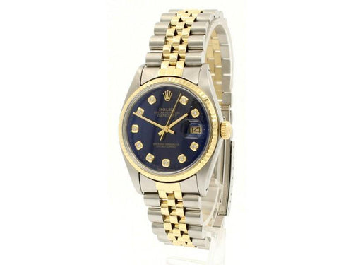 Men's Vintage ROLEX Oyster Perpetual Datejust 36mm Gold DIAMOND Blue Dial Watch PRE-OWNED - Global Timez