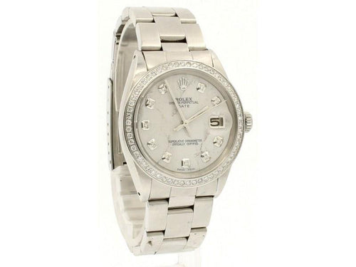 Men's ROLEX Oyster Perpetual Date 34mm White MARBLE Dial Diamond Steel Watch PRE-OWNED - Global Timez