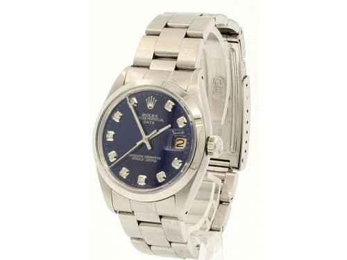 Men's Vintage ROLEX Oyster Perpetual Date 34mm Blue Dial Diamond Steel Watch PRE-OWNED - Global Timez