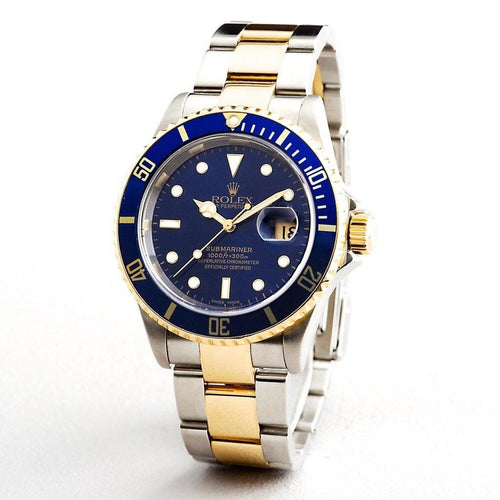 Men's Rolex Two-Tone 18K/SS Submariner Blue 16613T PRE-OWNED - Global Timez