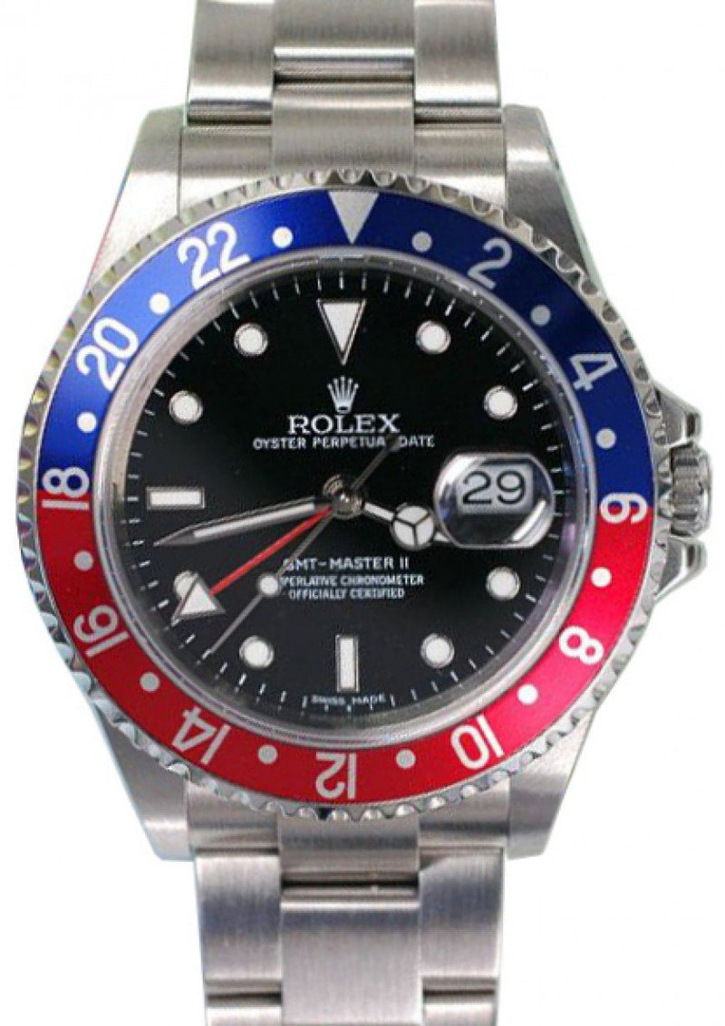 "Rolex GMT-Master II 16710 Men's 40mm ""Pepsi"" Blue Red Stainless Steel Oyster Date No Holes PRE-OWNED"