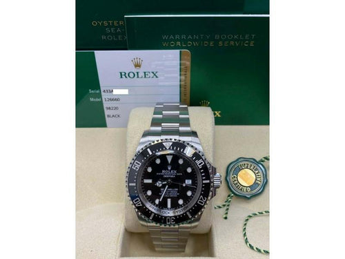 Men's Rolex Sea Dweller Deepsea 126660 Black Ceramic Stainless Steel Box Papers 2018 PRE-OWNED - Global Timez