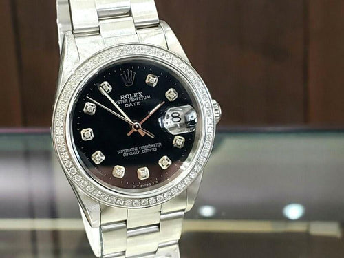 Men's Vintage ROLEX Oyster Perpetual Date 34mm Black Dial DIAMOND Bezel Watch PRE-OWNED - Global Timez