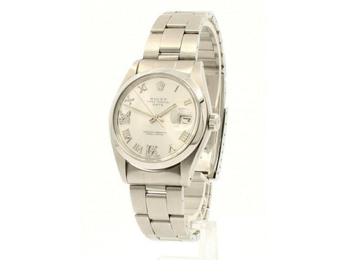 Men's ROLEX Oyster Perpetual Date 34mm Silver Roman Dial Diamond Stainless Watch PRE-OWNED - Global Timez