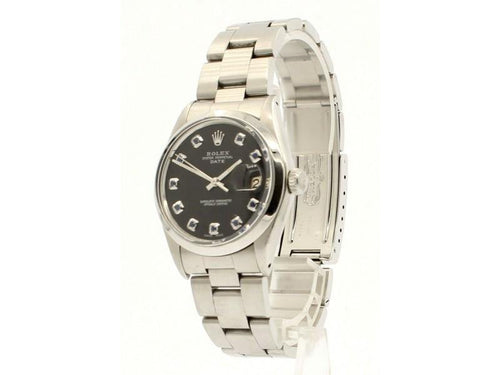 Men's Vintage ROLEX Oyster Perpetual Date 34mm Black Dial Stainless Watch PRE-OWNED - Global Timez