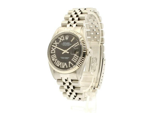Men's ROLEX Oyster Perpetual Datejust 36mm Black Roman Dial Diamond Stainless PRE-OWNED - Global Timez