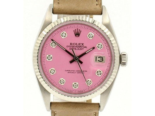Men's Vintage ROLEX Oyster Perpetual Datejust 36mm PINK Diamond Dial Watch PRE-OWNED - Global Timez