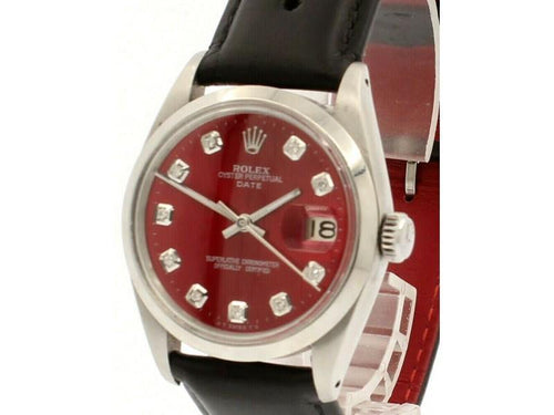 Men's Vintage ROLEX Oyster Perpetual Date 34mm Shiny RED Dial Diamond Steel Watch PRE-OWNED - Global Timez