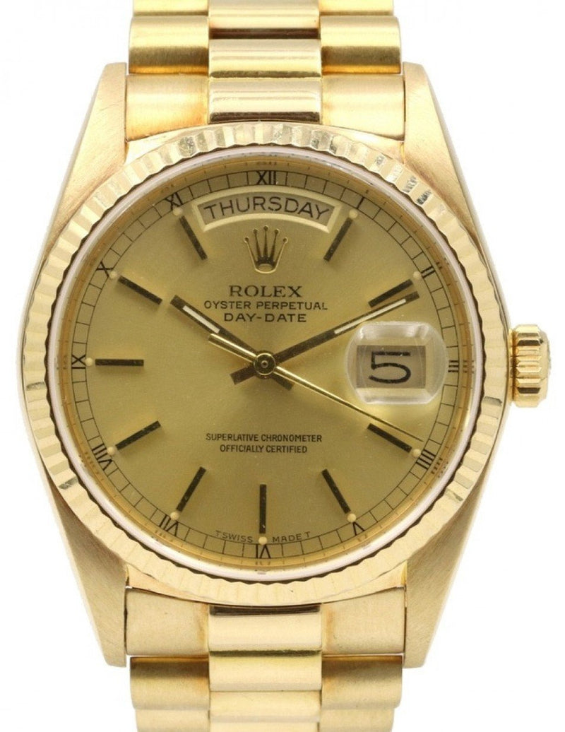 Men's Rolex Day-Date President 18038 Champagne Index 36mm Yellow Gold PRE-OWNED