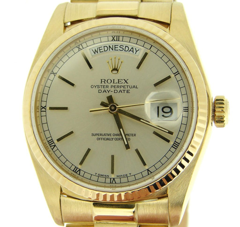 Men's Rolex 18K Gold Day-Date President Silver 18038 PRE-OWNED