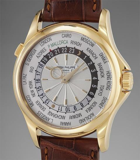 Men's Patek Philippe 5130J-001 Complications World Time 39.5mm Silver Yellow Gold Automatic BRAND NEW - Global Timez