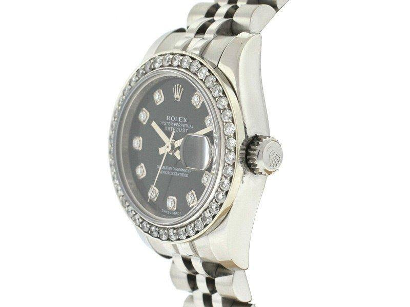 Ladies Rolex 179160 Datejust Factory Diamond Dial Watch PRE-OWNED - Global Timez