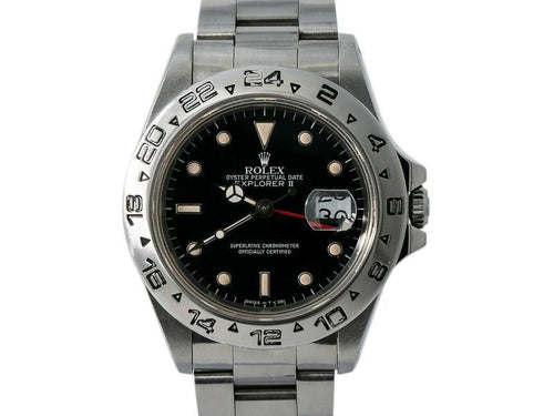 Men's Rolex Explorer II 16550 R Serial Men Automatic Watch Box&Papers Black Dial 40mm PRE-OWNED - Global Timez