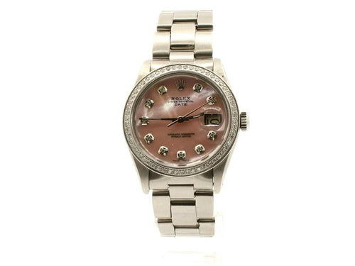 Men's ROLEX Oyster Perpetual Date 34mm PINK MOP Dial Diamond Stainless Watch PRE-OWNED - Global Timez