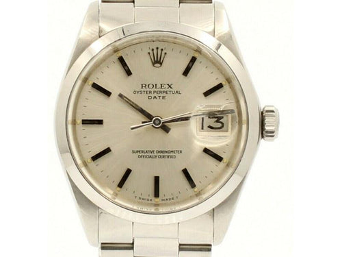 Men's Vintage ROLEX Oyster Perpetual Date 34mm Silver Dial Stainless Steel Watch PRE-OWNED - Global Timez