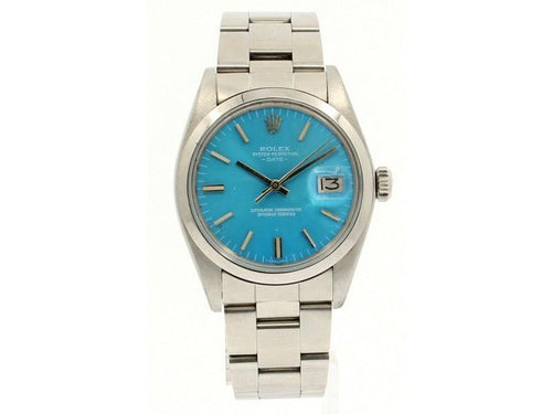 Men's Vintage ROLEX Oyster Perpetual Date 34mm Blue Color Dial DIAMOND Watch PRE-OWNED - Global Timez