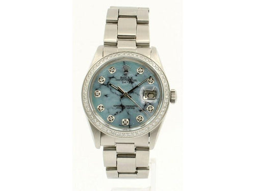 Men's ROLEX Oyster Perpetual Date 34mm Blue MOP MARBLE Dial Diamond Steel Watch PRE-OWNED - Global Timez