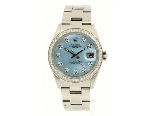 Men's Vintage ROLEX Oyster Perpetual Date 34mm Blue MOP Dial Diamond Steel Watch PRE-OWNED - Global Timez