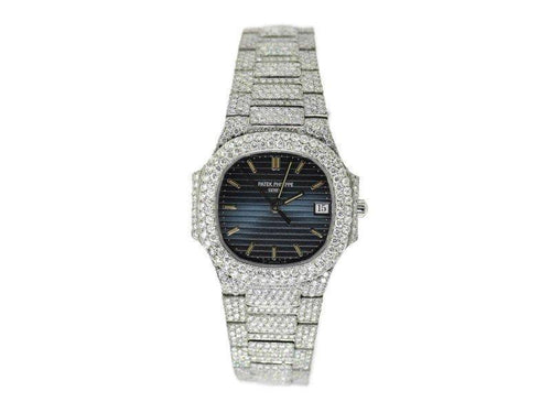 Ladies Patek Philippe Nautilus 20 CTW Diamond Blue Dial Stainless Steel Watch 3900/1 PRE-OWNED - Global Timez