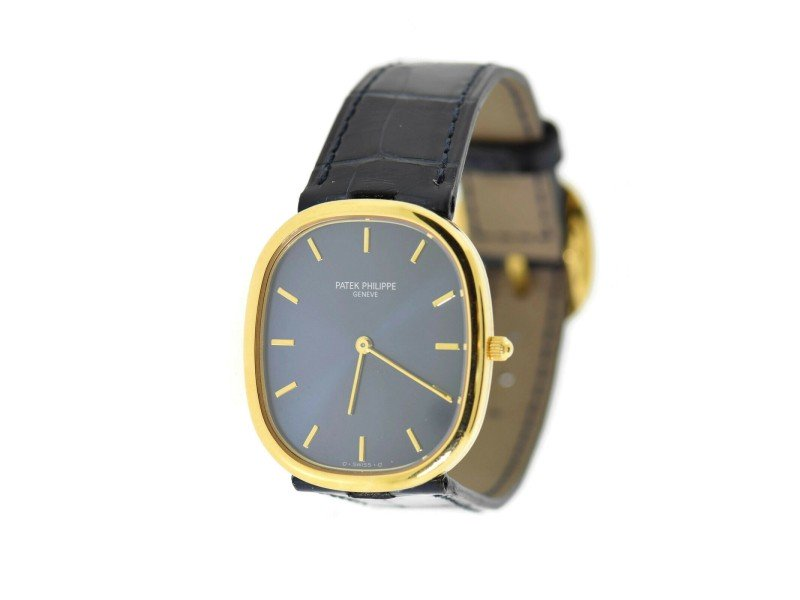 Men's Patek Philippe Golden Ellipse Blue Dial 18K Yellow Gold Watch 3738/100 PRE-OWNED