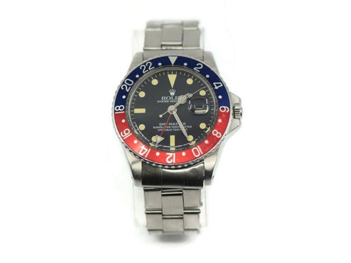 Men's Rolex GMT-Master Pepsi Stainless Steel Watch 1675 PRE-OWNED - Global Timez
