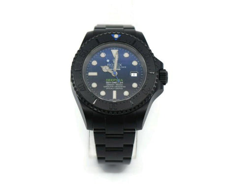 Men's Rolex Sea Dweller Deep Sea Blue Bamford Black Stainless Steel Watch 116660 PRE-OWNED - Global Timez