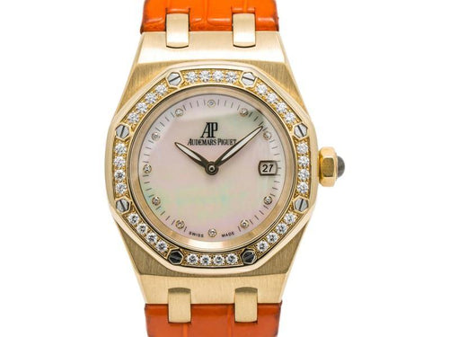 Ladies Audemars Piguet Lady Royal Oak 67601BA.ZZ.D012CR.02 Quartz 18K YG MOP Dial 33mm PRE-OWNED - Global Timez