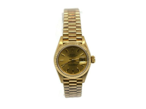 Ladies Rolex Datejust 18K Yellow Gold Watch 69178 PRE-OWNED - Global Timez