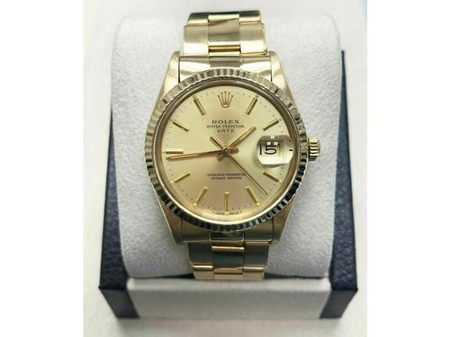 Men's Rolex Oyster Perpetual Date 15038 18K Yellow Gold COLLECTIBLE Beautiful PRE-OWNED - Global Timez