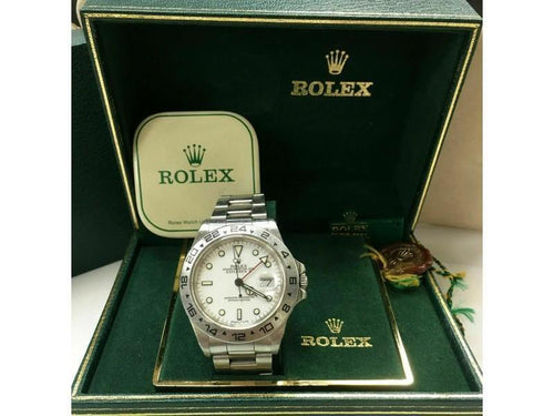Men's Rolex Explorer II 16550 White Dial Stainless With Box UNPOLISHED Collectible PRE-OWNED - Global Timez