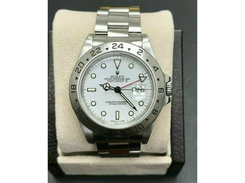 Men's Rolex Explorer II White Dial 16570 Stainless Steel Creamy Patina PRE-OWNED - Global Timez