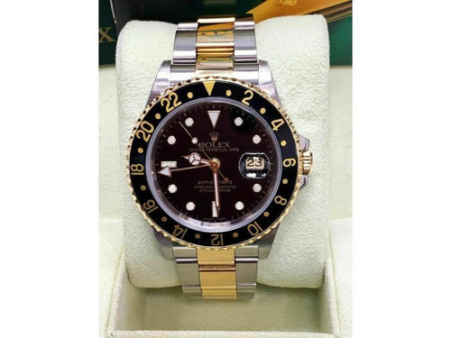Men's Rolex GMT Master II 16713 Black Dial 18K Yellow Gold & Steel Box Booklets 2003 PRE-OWNED - Global Timez