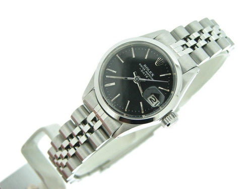 Rolex Stainless Steel Date Black Ladies 6516 PRE-OWNED - Global Timez