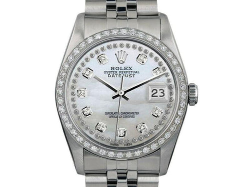 Men's Rolex Datejust 16014 Unisex White MOP Diamond White Gold 36mm PRE-OWNED - Global Timez