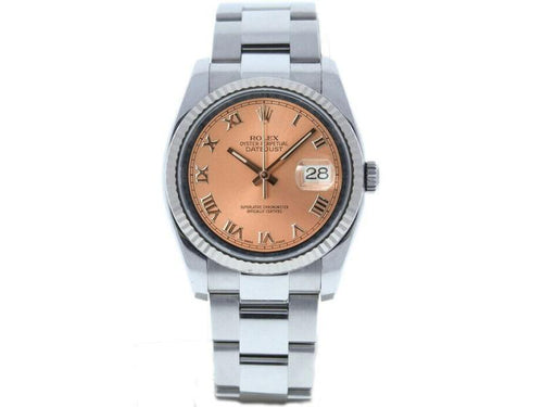 Men's Rolex Datejust 36mm 116234 Unisex Salmon Roman White Gold 36mm PRE-OWNED - Global Timez