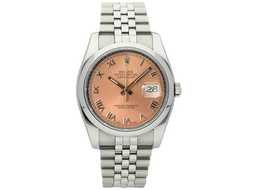 Men's Rolex Datejust 36mm 116200 Unisex Salmon Roman Steel 36mm PRE-OWNED - Global Timez
