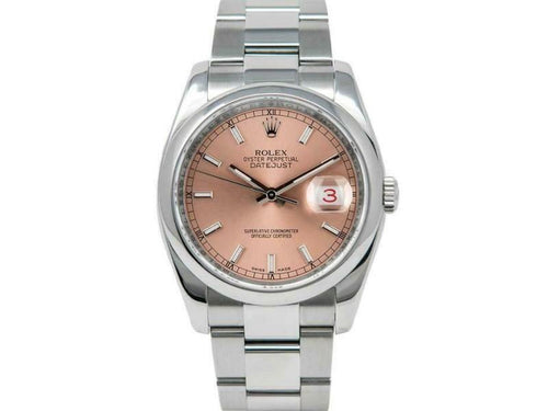Men's Rolex Datejust 36mm 116200 Unisex Salmon Index Steel 36mm PRE-OWNED - Global Timez