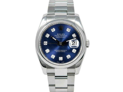 Men's Rolex Datejust 36mm 116200 Unisex Blue Diamond Steel 36mm PRE-OWNED - Global Timez